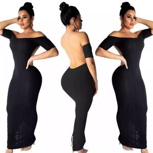 Solid Backless Maxi Dress